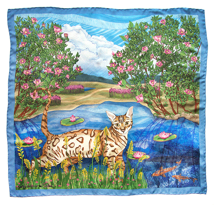 designer simba silk cat flowers scarf